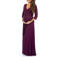 Women's Faux Wrap Maternity Dress With Adjustable Belt | Mother Bee Maternity