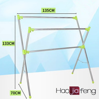 HJF GW-528 Promotion Stainless steel folding towel and clothes floor free standing drying rack