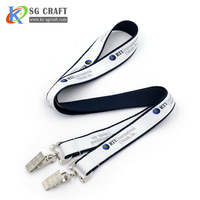 Polyester material cheap double clip custom double woven lanyards