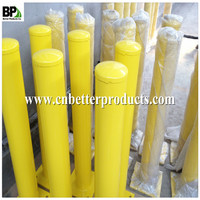 painted yellow removable surface mounted steel bollards