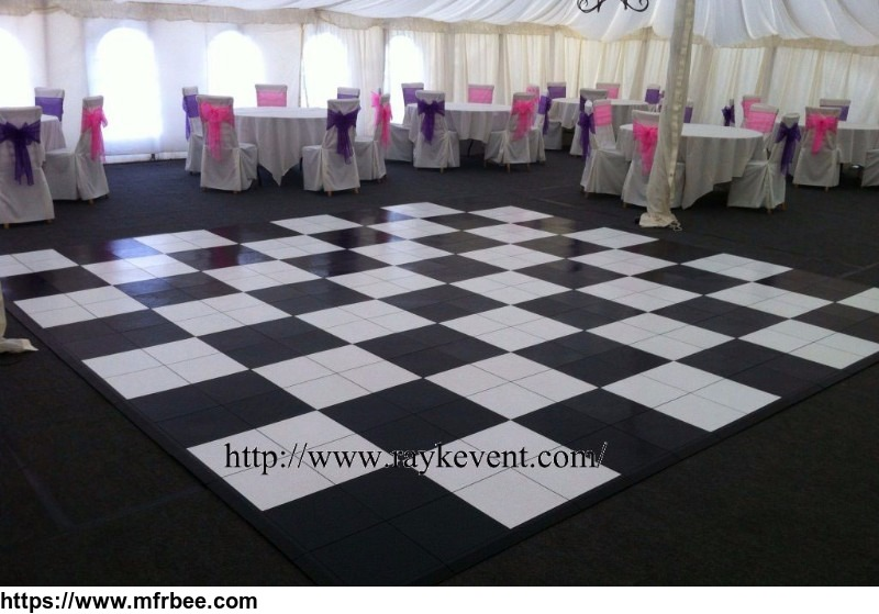 Wedding wood black and white dance floor