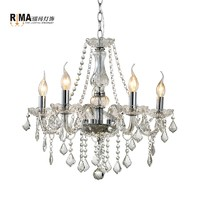 Good quality Interior Lighting 5 Arms Champagne Glass Crystal Chandeliers for Living room