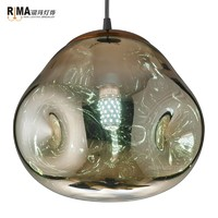 Zhongshan Guzhen Factory Rima Lighting Art Deco Colored Glass Pendant Light for Restaurant Dining Room