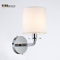 Decorative Modern Wall Lamp with Fabric Lampshade French gold Stainless Crystal wall lamp