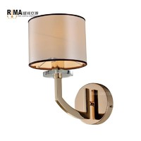more images of Decorative Modern Wall Lamp with Fabric Lampshade French gold Stainless Crystal wall lamp