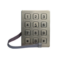 12 keys metal stainless steel keypad for access control system