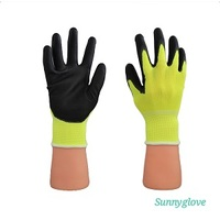 FLUORESCENT YELLOW NYLON BLACK PU PALM GLOVE