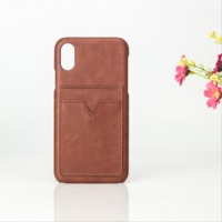credit card holder pu leather cell phone case for iphone x with card holder