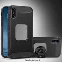 Car bracket TPU PC phone cases for iphone x with magnetic stickers