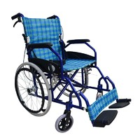 Blue Best Folding Comfortable Lightweight Wheelchair for Elderly Outdoor Transport