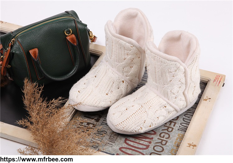 Indoor keep warm cheap kids knitted handmade and brocade shoes