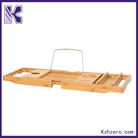 100% Natural Bamboo Bathtub Caddy Bath Tub Tray with Extending Sides