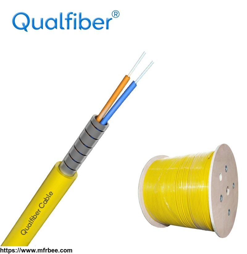 2 core spiral steel armored Indoor fiber optic cable