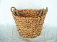 TL-42565A S/3 Eco-friendly handmade woven chunky braided basket wholesale with jute handles