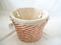 eco-friendly handmade woven laundry storage basket with white handles