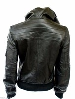 Ladies Fashion PU Leather Jacket with Hoodie