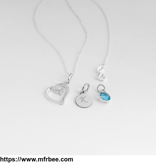 Silver Necklace with Heart Diamante Pendant