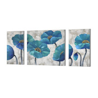 3 Panels Modern Prints Artwork Blue Abstract wall Decor Floral Paintings