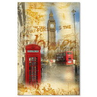 Canvas Print - Vintage London Big Ben and Red Telephone Booth 24x36 Inch (60x90cm)