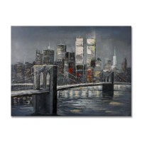 100% handmade Brooklyn Bridge & twin towers 48x36Inch (120x90cm)