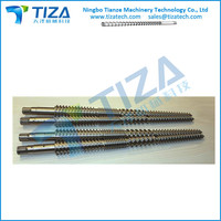 Conical Twin screws and barrel for plastic making machine