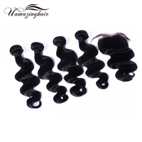 "Indian virgin hair 4 bundles Body Wave with 3.5""*4"" Free part lace top closure"