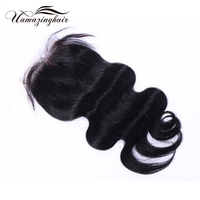 "Indian virgin hair Body Wave 3.5""*4"" Free part lace top closure"