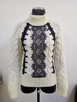 high quality winter warm ladies cable knit pullover with lace manufacture