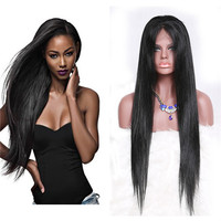 Silky Straight Human Hair Wig Free Part Lace Wig With Natural Hairline