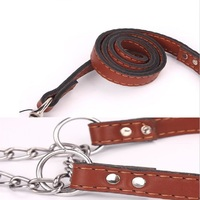 High quality PU Leash Rope with P shape Chain Collar Set for Big Dog and Middle Dog