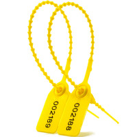 more images of Plastic Security Seals Beaded Ties Pull Tight Numberd Label (SL-06F Yellow)