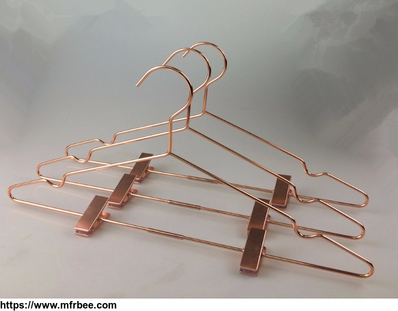 copper_metal_wire_clothes_hanger_with_clips_for_pants