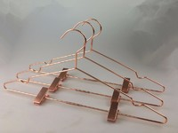 copper metal wire clothes hanger with clips for pants