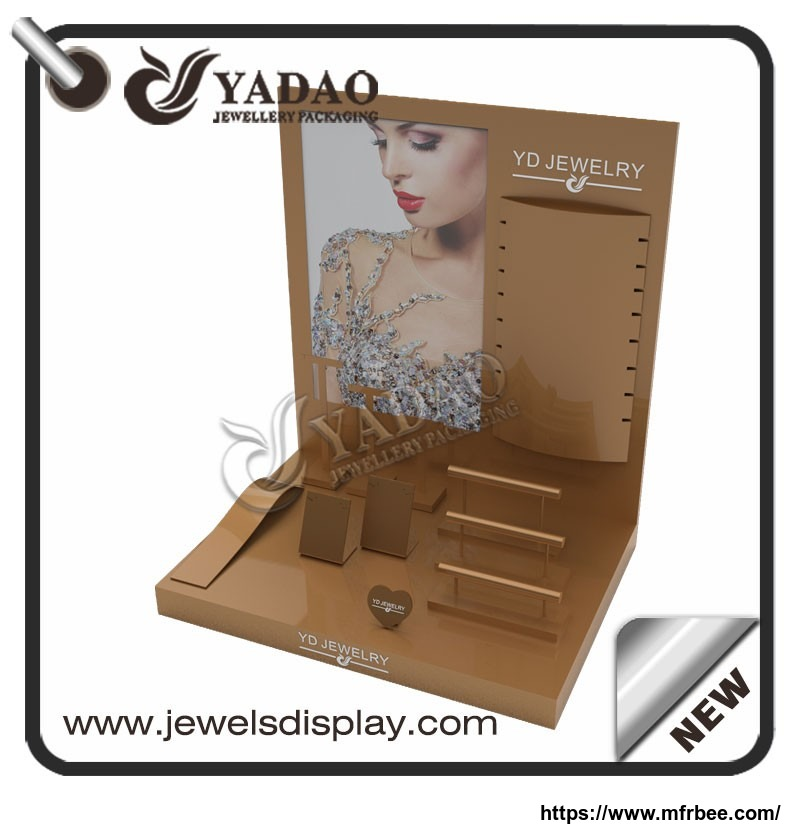 customize lacquer wooden jewelry display set design for jewelry counter