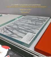 Decorative Toughened Laminated Glass With Dazzle Film With International Certificates.
