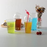 High quality disposable 16oz clear PET cold drink plastic cups with dome lid