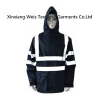 Protective Navy Blue Flame Retardant Jacket With Reflective Tape and Hood/PPE/security clothes