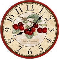 French Botanical Cherries Wall Clock