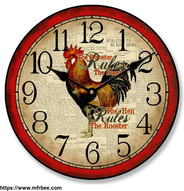country_rooster_wall_clock
