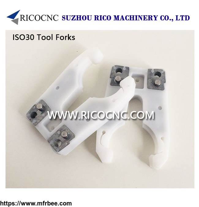 White ISO30 Tool Holder Forks ATC Tool Grippers for CNC Router Machine