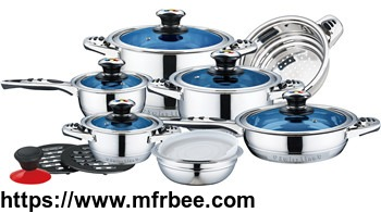 16pcs_blue_glass_lids_stainless_steel_cookware_set_with_fish_bone_shape_handle