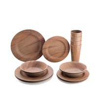 Factory direct price 16pcs wooden grain melamine dinnerware wood plates and bowl set with cups
