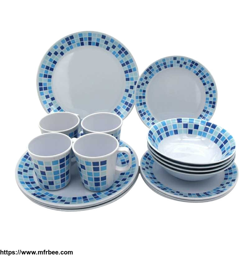 Top quality mosaic lattice print mug turkish blue melamine tableware set china dinnerware sets 16 pcs