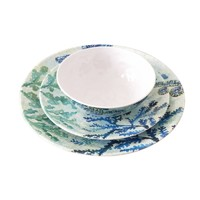 New design dinner set ocean seahorse starfish decal seafood plates and bowl set italian dinnerware sets