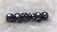 New Fashion Celestial Mosaic Charm, Black Acrylic & Mother-of-Pearl Bead