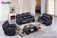 Manual or Electric lift black leather recliner sofa