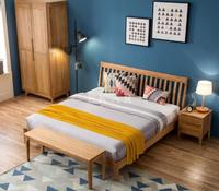 New Modern Design King Size Solid Wood Wooden Furniture Double Bed