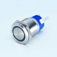 19mm ring  LED IP67 waterproof momentary /latched  metal push button switch