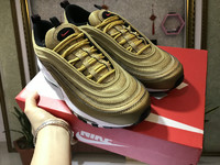 NIKE AIR MAX 97 Metallic Gold in brown nike shoes for running