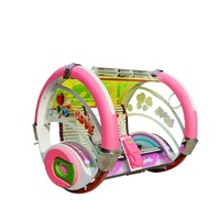 Amusement  park battery 360 angle rotating swing happy car game machine with LED lights for kids